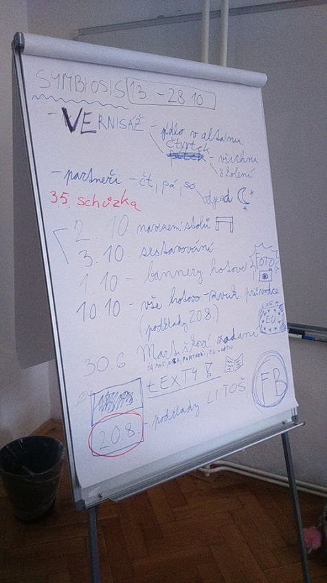 flipchart in the house U Minuty, Old Town Square, Prague